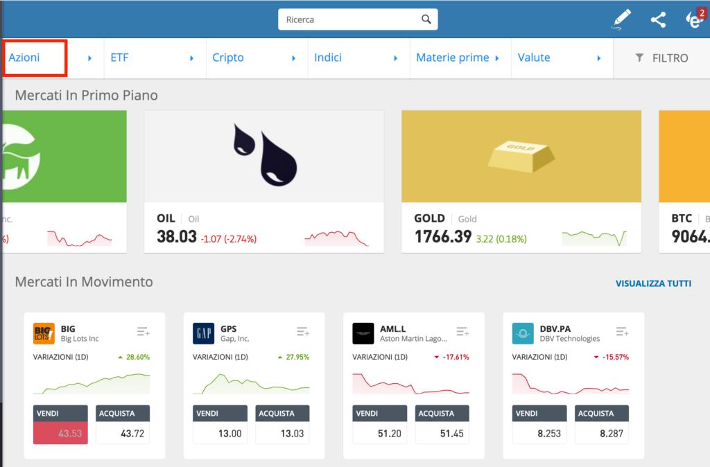 Schermata selezione investimento in borsa di eToro