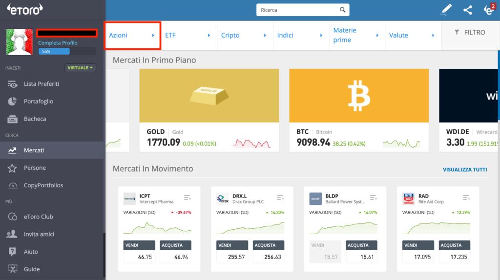 selezionare azioni trading online
