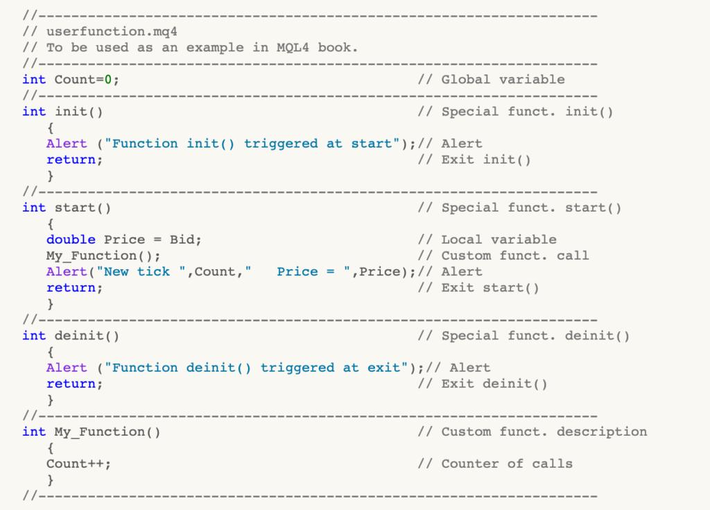 MQL funzione esempio