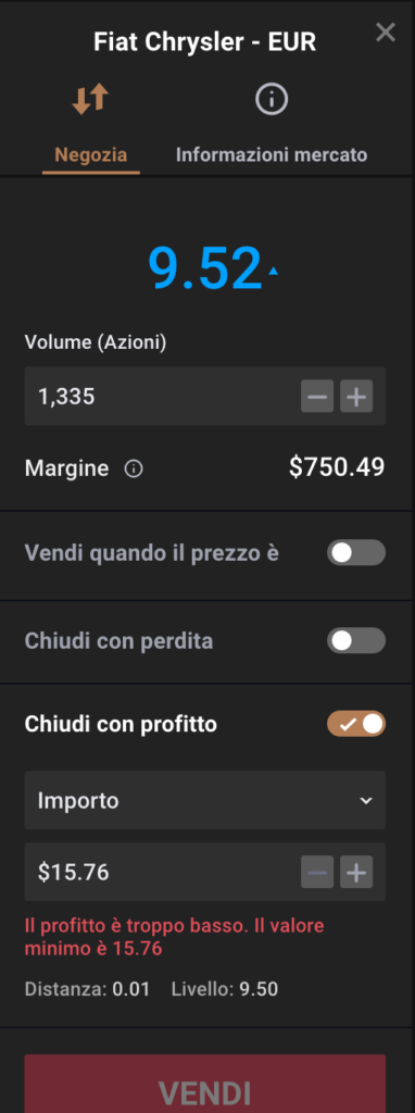 ordine di take profit capital.com