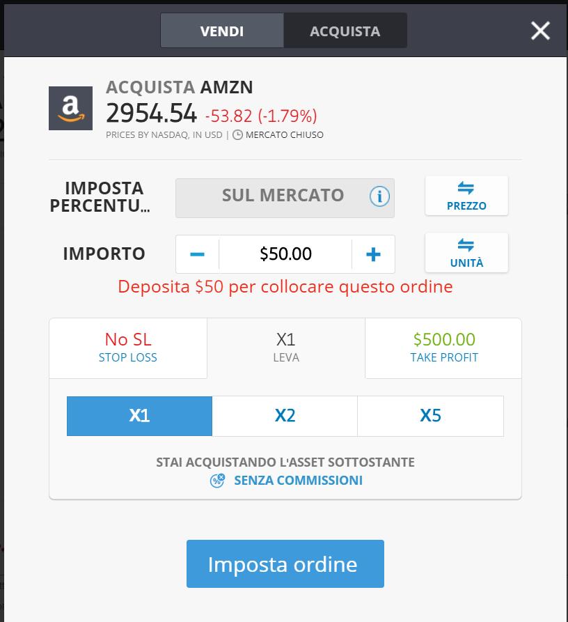 Investire su Amazon con eToro