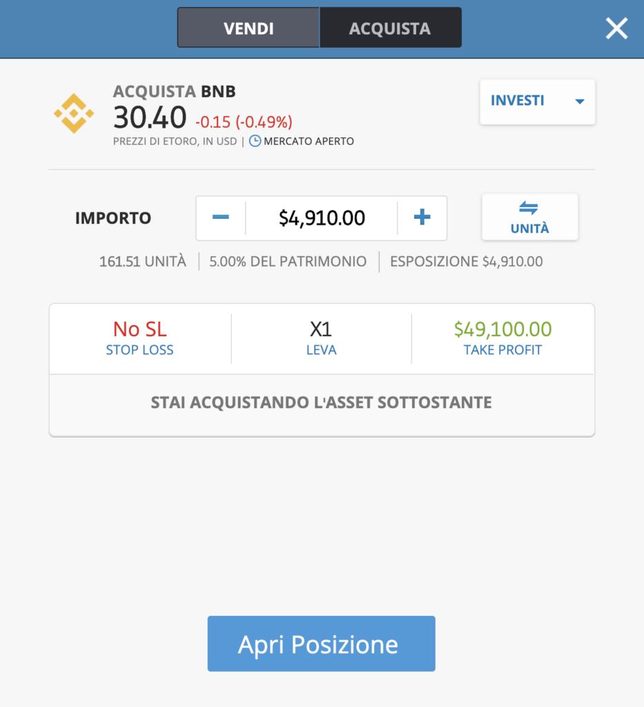 investire BNB etoro