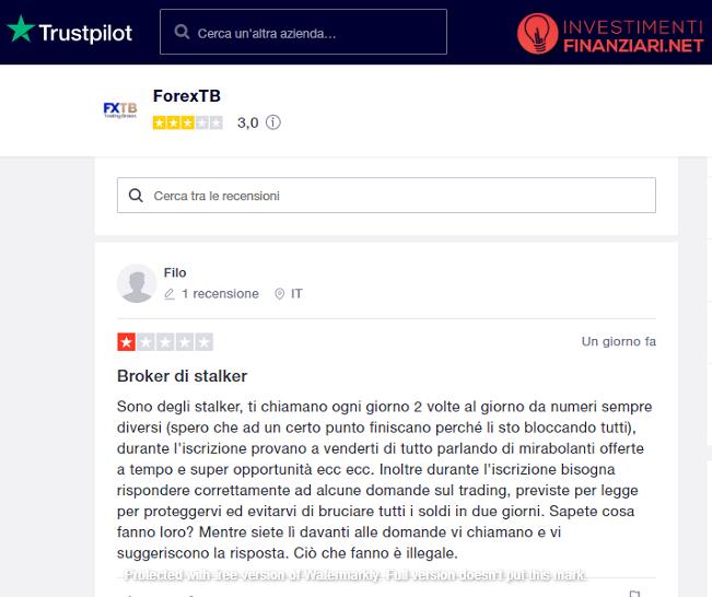 una recensione di forexTB su Trustpilot