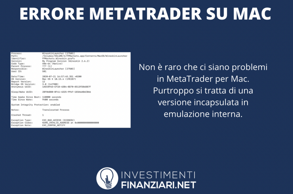 MetaTrader Mac - problemi infografica di InvestimentiFinanziari.net