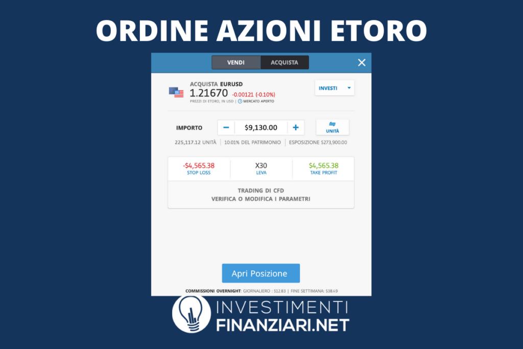 Ordine su eToro - trading online su azioni - a cura di InvestimentiFinanziari.net