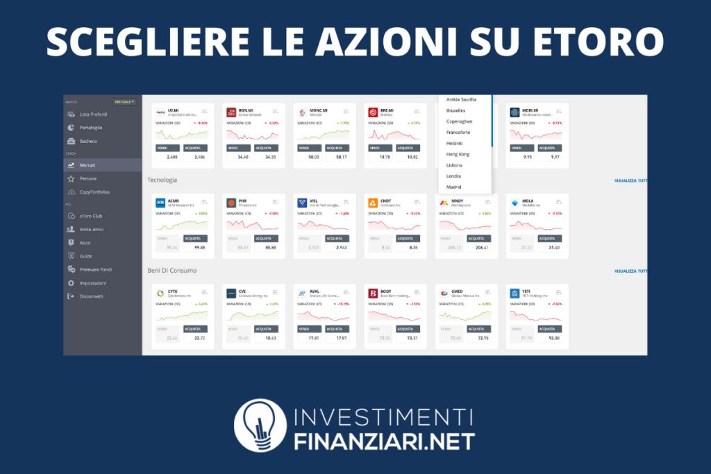 Dashboard eToro per comprare azioni - a cura di Criptoval