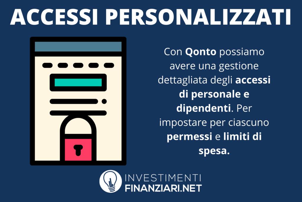 Accessi personalizzati di Qonto - a cura di InvestimentiFinanziari.net